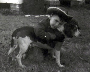 Woody as child with his dog