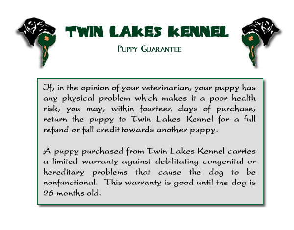 Twin Lakes Kennel Puppy Guarantee