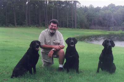 Woody with three titled black Labs
