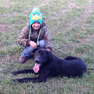 Rylan with his new Lab.